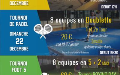 [VACANCES DE NOEL] Le programme : Tournois et stages
